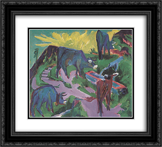 Cows at Sunset 22x20 Black or Gold Ornate Framed and Double Matted Art Print by Ernst Ludwig Kirchner