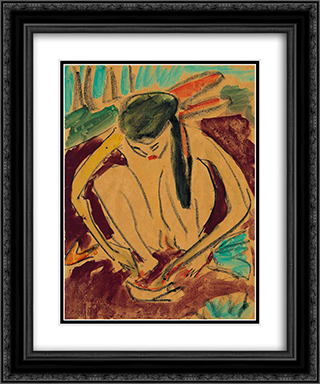 Crouching Girl 20x24 Black or Gold Ornate Framed and Double Matted Art Print by Ernst Ludwig Kirchner