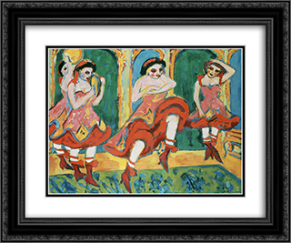 Czardas Dancers 24x20 Black or Gold Ornate Framed and Double Matted Art Print by Ernst Ludwig Kirchner