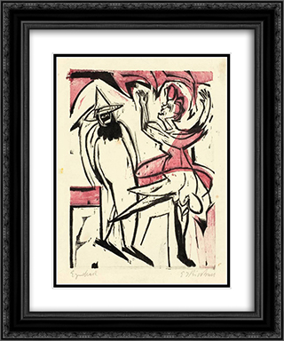 Dance 20x24 Black or Gold Ornate Framed and Double Matted Art Print by Ernst Ludwig Kirchner