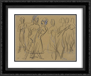 Dance Group of the Mary Wigman School in Dresden 24x20 Black or Gold Ornate Framed and Double Matted Art Print by Ernst Ludwig Kirchner