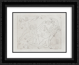 Dance Shool 24x20 Black or Gold Ornate Framed and Double Matted Art Print by Ernst Ludwig Kirchner