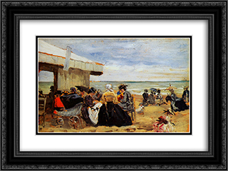A Beach Scene 24x18 Black or Gold Ornate Framed and Double Matted Art Print by Eugene Boudin