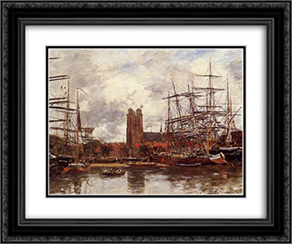 A French Port 24x20 Black or Gold Ornate Framed and Double Matted Art Print by Eugene Boudin