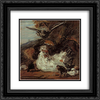 A Hen and Her Chicks (after Melchior d'Hondecoeter) 20x20 Black or Gold Ornate Framed and Double Matted Art Print by Eugene Boudin