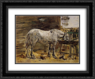 A Horse Drinking 24x20 Black or Gold Ornate Framed and Double Matted Art Print by Eugene Boudin