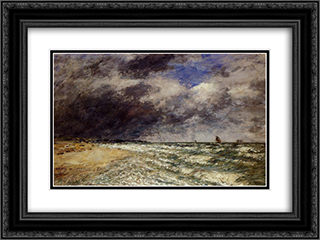A Squall from Northwest 24x18 Black or Gold Ornate Framed and Double Matted Art Print by Eugene Boudin