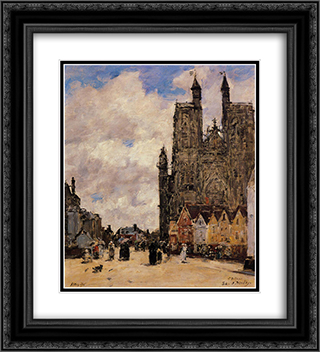 Abbeville, Street and the Church of Saint-Folfran 20x22 Black or Gold Ornate Framed and Double Matted Art Print by Eugene Boudin