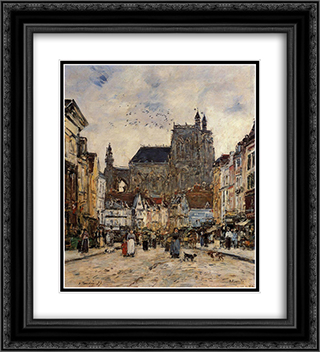 Abbeville, Street and the Church of Saint-Vulfran 20x22 Black or Gold Ornate Framed and Double Matted Art Print by Eugene Boudin