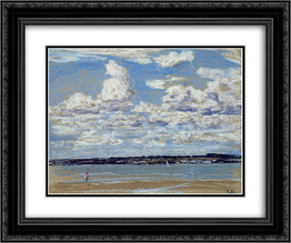 An Estuary in Brittany 24x20 Black or Gold Ornate Framed and Double Matted Art Print by Eugene Boudin