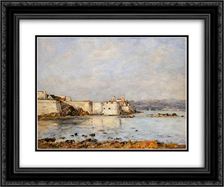Antibes, the Fortifications 24x20 Black or Gold Ornate Framed and Double Matted Art Print by Eugene Boudin