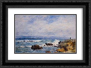 Antibes, the Point of the Islet 24x18 Black or Gold Ornate Framed and Double Matted Art Print by Eugene Boudin