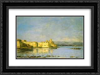 Antibes 24x18 Black or Gold Ornate Framed and Double Matted Art Print by Eugene Boudin