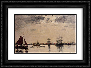 Antwerp, boats on the River Escaut 24x18 Black or Gold Ornate Framed and Double Matted Art Print by Eugene Boudin