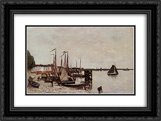 Antwerp, Fishing Boats 24x18 Black or Gold Ornate Framed and Double Matted Art Print by Eugene Boudin