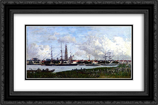 Antwerp, the Port 24x16 Black or Gold Ornate Framed and Double Matted Art Print by Eugene Boudin