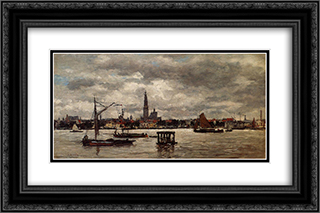 Antwerp, the Schelde 24x16 Black or Gold Ornate Framed and Double Matted Art Print by Eugene Boudin