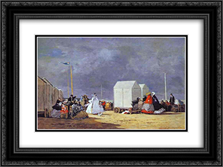 Approaching Storm 24x18 Black or Gold Ornate Framed and Double Matted Art Print by Eugene Boudin