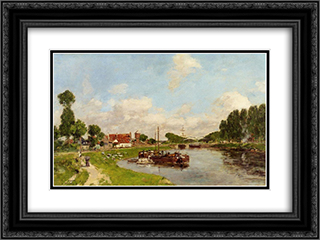 Barges on the canal at Saint-Valery-sur-Somme 24x18 Black or Gold Ornate Framed and Double Matted Art Print by Eugene Boudin