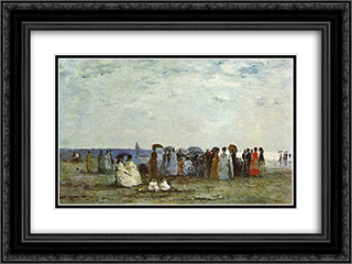 Bathers on the Beach at Trouville 24x18 Black or Gold Ornate Framed and Double Matted Art Print by Eugene Boudin