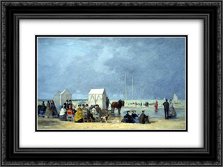 Bathing time at Deauville 24x18 Black or Gold Ornate Framed and Double Matted Art Print by Eugene Boudin