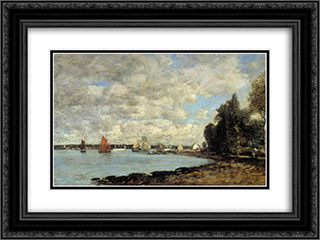 Bay of Plougastel 24x18 Black or Gold Ornate Framed and Double Matted Art Print by Eugene Boudin