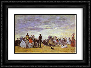 Beach at Trouville 24x18 Black or Gold Ornate Framed and Double Matted Art Print by Eugene Boudin