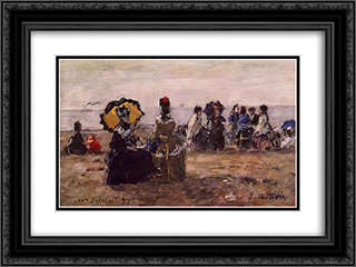 Beach Scene, the Yellow Umbrella 24x18 Black or Gold Ornate Framed and Double Matted Art Print by Eugene Boudin