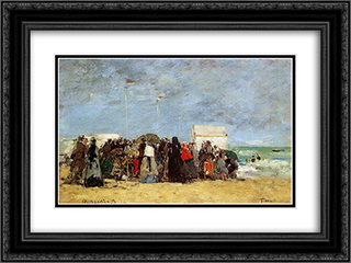 Beach Scene, Trouville 24x18 Black or Gold Ornate Framed and Double Matted Art Print by Eugene Boudin