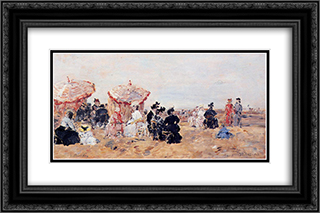 Beach Scene, Villers 24x16 Black or Gold Ornate Framed and Double Matted Art Print by Eugene Boudin