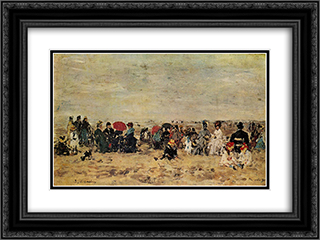 Beach scene 24x18 Black or Gold Ornate Framed and Double Matted Art Print by Eugene Boudin