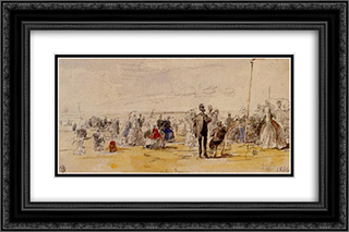 Beach Scene at Trouville 24x16 Black or Gold Ornate Framed and Double Matted Art Print by Eugene Boudin