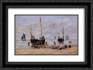 Berck, Fishermen at Low Tide 24x18 Black or Gold Ornate Framed and Double Matted Art Print by Eugene Boudin
