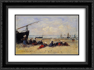 Berck, Fisherwomen on the Beach, Low Tide 24x18 Black or Gold Ornate Framed and Double Matted Art Print by Eugene Boudin