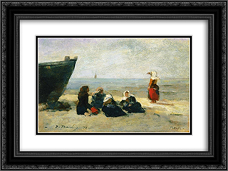 Berck, Fisherwomen on the Beach 24x18 Black or Gold Ornate Framed and Double Matted Art Print by Eugene Boudin