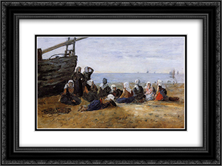 Berck, Group of Fishwomen Seated on the Beach 24x18 Black or Gold Ornate Framed and Double Matted Art Print by Eugene Boudin