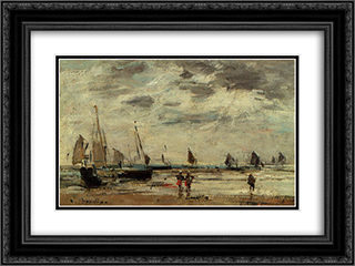 Berck, Jetty and Sailing Boats at Low Tide 24x18 Black or Gold Ornate Framed and Double Matted Art Print by Eugene Boudin