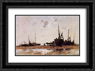 Berck, Low Tide 24x18 Black or Gold Ornate Framed and Double Matted Art Print by Eugene Boudin