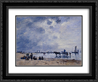 Berck, the Arrival of the Fishing Boats 24x20 Black or Gold Ornate Framed and Double Matted Art Print by Eugene Boudin