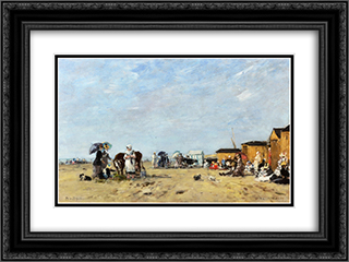 Berck, the Beach 24x18 Black or Gold Ornate Framed and Double Matted Art Print by Eugene Boudin