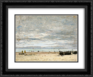 Berck, The Beach at Low Tide 24x20 Black or Gold Ornate Framed and Double Matted Art Print by Eugene Boudin