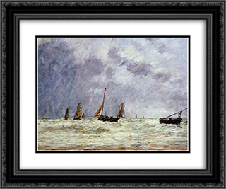 Berck, the Departure of the Boats 24x20 Black or Gold Ornate Framed and Double Matted Art Print by Eugene Boudin