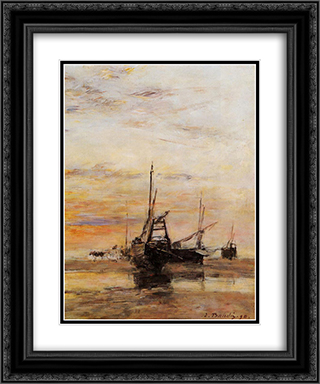 Berck Low Tide 20x24 Black or Gold Ornate Framed and Double Matted Art Print by Eugene Boudin