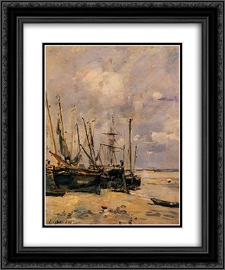 Boats 20x24 Black or Gold Ornate Framed and Double Matted Art Print by Eugene Boudin