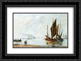 Boats At Anchor along the Shore 24x18 Black or Gold Ornate Framed and Double Matted Art Print by Eugene Boudin