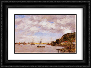 Bordeaux, a Cargonne Larmont 24x18 Black or Gold Ornate Framed and Double Matted Art Print by Eugene Boudin