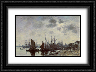Bordeaux, Bacalan, View from the Quay 24x18 Black or Gold Ornate Framed and Double Matted Art Print by Eugene Boudin