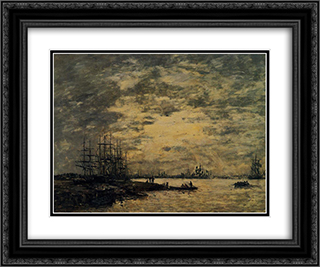 Bordeaux, Boats on the Garonne 24x20 Black or Gold Ornate Framed and Double Matted Art Print by Eugene Boudin