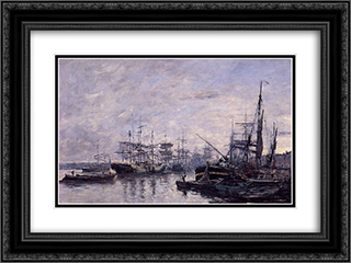 Bordeaux, the Port 24x18 Black or Gold Ornate Framed and Double Matted Art Print by Eugene Boudin