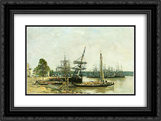 Bordeaux 24x18 Black or Gold Ornate Framed and Double Matted Art Print by Eugene Boudin